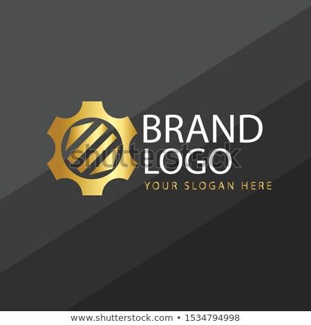 Corporate Identity on the Golden Metallic Cogwheels. Stock photo © tashatuvango