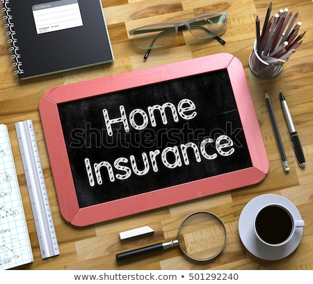 Small Chalkboard with Home Insurance Concept. 3D. Stock photo © tashatuvango