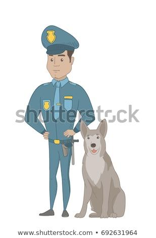 Koyu esmer polis memuru ayakta polis köpek tam uzunlukta Stok fotoğraf © RAStudio