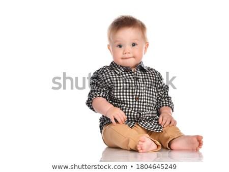 cute joyful baby boy in blue shirt and diaper Stock photo © Traimak
