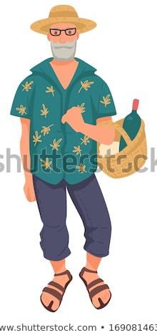 человека очки соломенной шляпе улыбаясь крупным планом Сток-фото © IS2