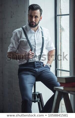 Portré töprengő bájos férfi fehér póló Stock fotó © deandrobot