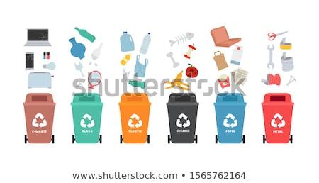 Stock fotó: Rubbish Bin For Glass Waste Vector Illustration