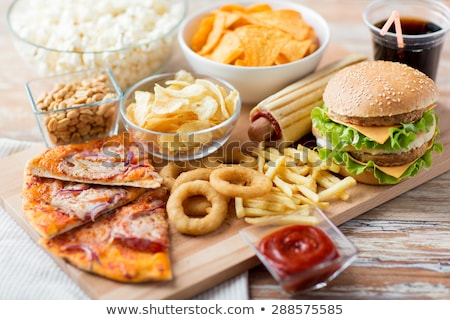 Hamburger, french fries and cola fast food meal Stock photo © pakete