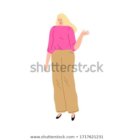 Mosolygó nő gesztusok kezek beszéd vektor mosolyog Stock fotó © robuart