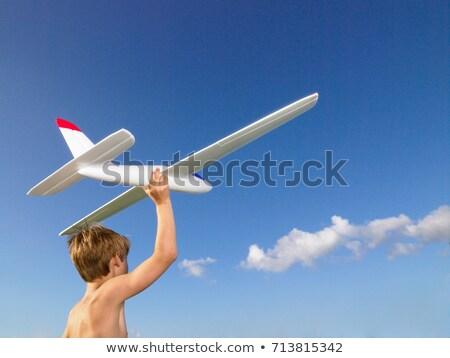 Fiatal srác kész küld el repülőgép játék Stock fotó © IS2