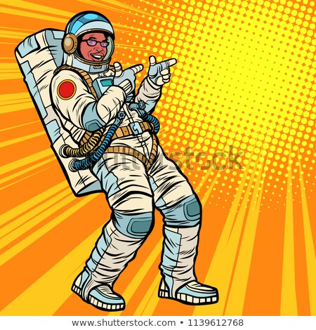 astronaut young man points african american people stock photo © studiostoks