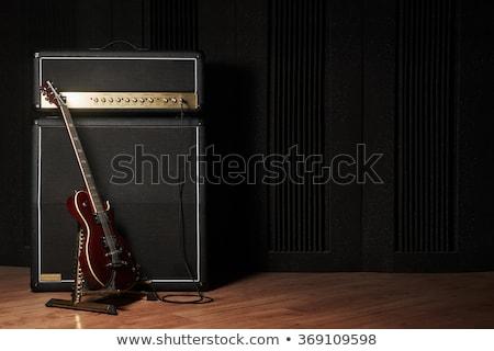 Stock fotó: Elektromos · gitár · gitár · stilizált · téglafal · zene · fém