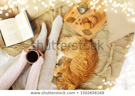 happy woman with coffee and cookies in bed at home stock photo © dolgachov