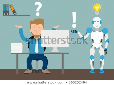Cyborg businessman. Office Robot Artificial Intelligence. Vector Stock photo © MaryValery