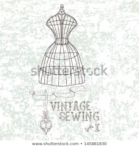 Dziewcząt manekin vintage sukienka ilustracja Zdjęcia stock © lenm
