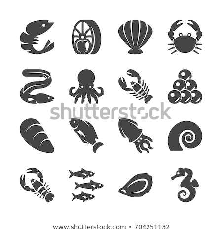 set of sea foods icon in flat style fresh fish stock photo © marysan