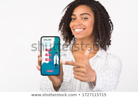 mobile phone showing video conference of a doctor stock photo © andreypopov