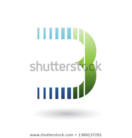 Blue and Green Letter B Icon with Vertical Stripes Stock photo © cidepix