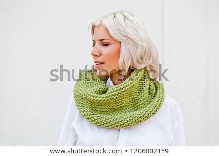 Vrouw warm groene wol gebreid mooie Stockfoto © marylooo