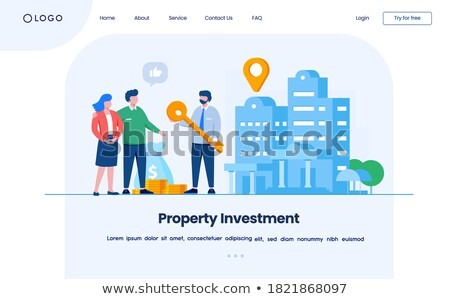 Isometric flat vector landing page template. Investment in property. Stock photo © TarikVision