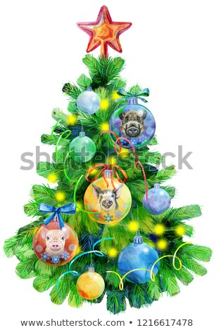 watercolor illustration christmas tree decorated with christmas balls with image of pig stock photo © natalia_1947