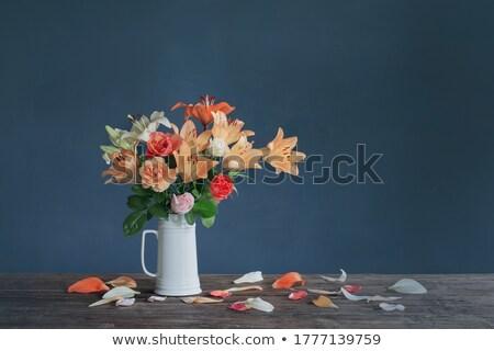 розовый Лилия цветы керамической ваза иллюстрация Сток-фото © colematt