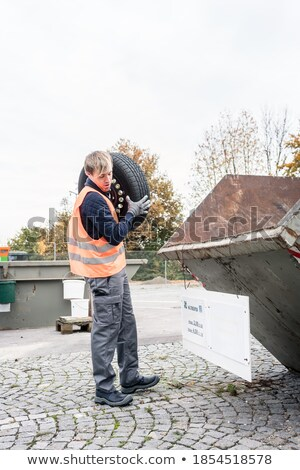 человека старые шин контейнера рециркуляции центр Сток-фото © Kzenon