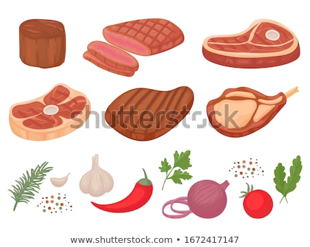 Stok fotoğraf: Bbq Set Meat For Barbecue And Spice Vector Icon
