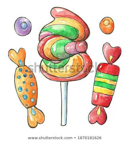 sign candy and colorful candies set caramel marmalade stock photo © marysan