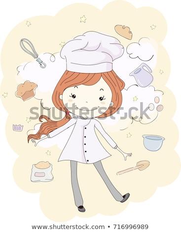 meisje · cake · illustratie · cute · meisje - stockfoto © lenm