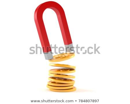 Arany dollár valuta felirat piros mágnes Stock fotó © djmilic