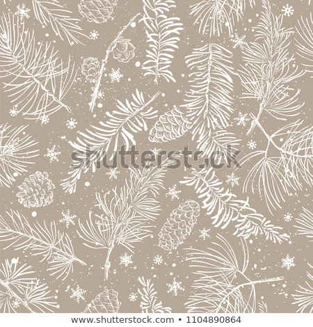 Stock photo: Christmas fir tree branch covered by snow