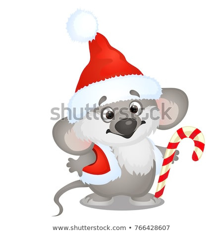 cute koala bear in hat of santa claus with sweet candy cane isolated on white background sketch of stock photo © lady-luck