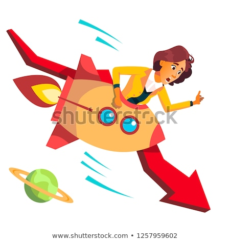 Business Woman Riding A Rocket Falls Down On Background Of Falling Red Arrow Vector. Illustration Stock photo © pikepicture