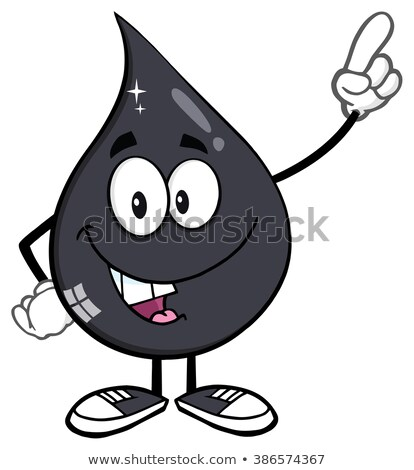 smiling petroleum or oil drop cartoon character holding up an idea finger stock photo © hittoon