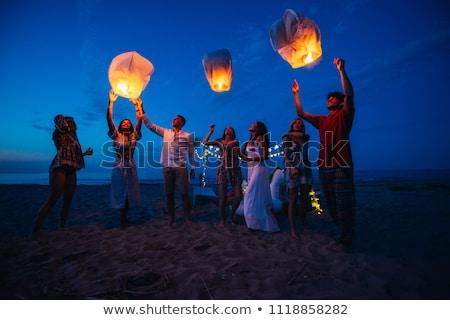 счастливым друзей освещение китайский небе фонарь Сток-фото © dolgachov