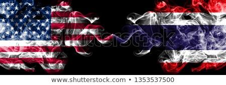 Dwa flagi Stany Zjednoczone Tajlandia odizolowany Zdjęcia stock © MikhailMishchenko