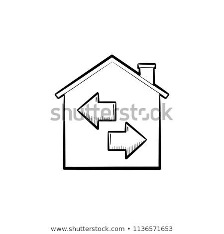 ház · csere · rajz · ikon · vektor · izolált - stock fotó © rastudio