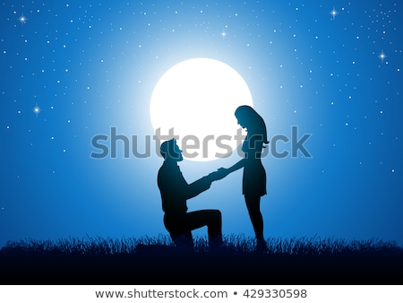 Love couple proposing marriage on full moon night Stock photo © colematt