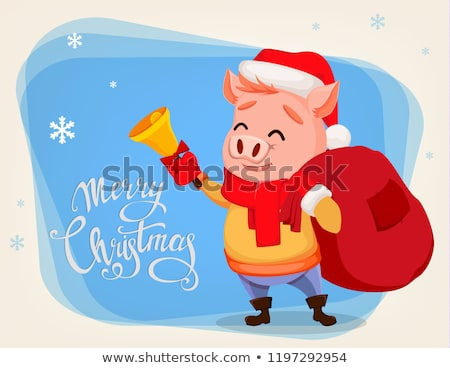 New Year Piglet Wearing Santa Claus Hat Greeting Stock photo © robuart