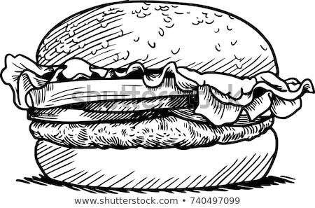 Kroki hamburger yalıtılmış beyaz gıda ekmek Stok fotoğraf © Arkadivna