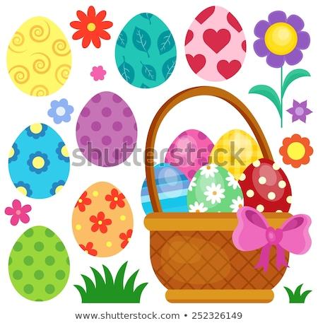 conjunto · cor · ovos · de · páscoa · decorado · ornamento · páscoa - foto stock © clairev