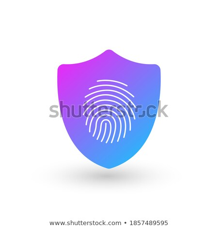 Finger Print Security Shield Logo Design Element. Vector illustration isolated on white background. Stock photo © kyryloff