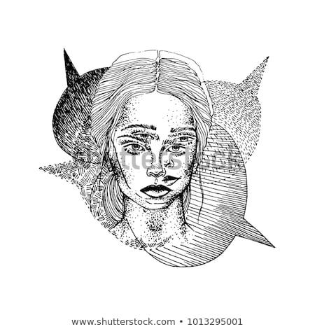 ストックフォト: 手描き · 少女 · 2 · 顔 · 吹き出し · 入れ墨