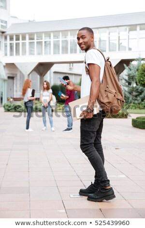 jeunes · africaine · homme · étudier · Université · livres - photo stock © deandrobot