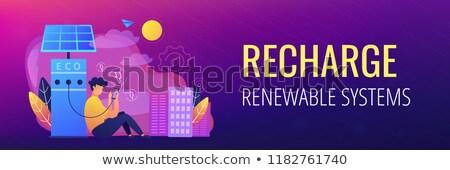 Eco recharge stations in smart city header banner. Stock photo © RAStudio