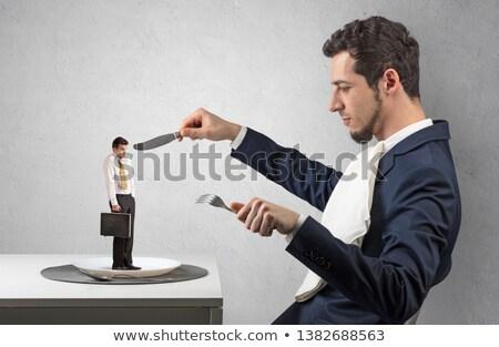 Kicsi ijedt üzletember pici gyenge nagyszerű Stock fotó © ra2studio