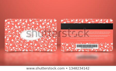 Vector template of membership or loyalty coral pink VIP card with elegant white floral pattern. Red  Stock photo © Iaroslava