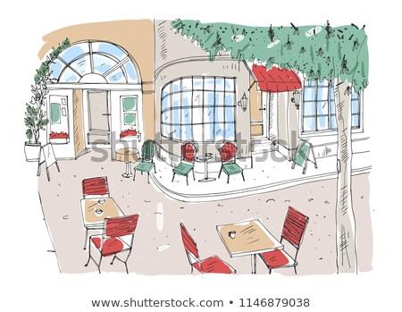 színes · durva · rajz · szék · ház · szoba - stock fotó © Blue_daemon