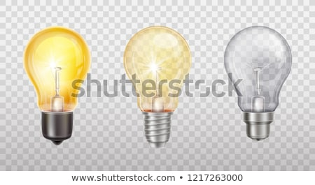 Light Bulb Vector. Glowing Shine Lamp Bulb. Filament Icon. 3D Realistic Transparent Illustration Stock photo © pikepicture