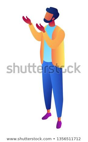Zakenman handen omhoog aanvragen gebaar isometrische 3d illustration Stockfoto © RAStudio