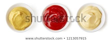 マスタード ケチャップ 白 実例 食品 背景 ストックフォト © colematt