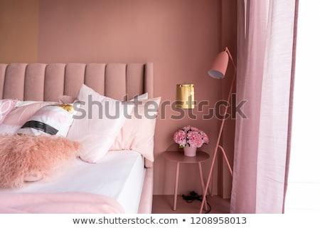 Hálószoba jelenet rózsaszín ágy illusztráció otthon Stock fotó © colematt