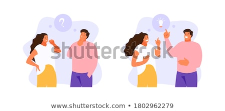 Vector illustration with people thinking on creative idea stock foto © Giraffarte